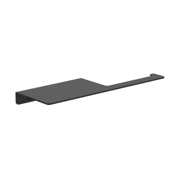 Clark Square Toilet Roll Holder + Shelf Black
