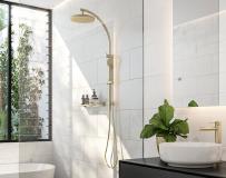 white bathroom gold shower basin