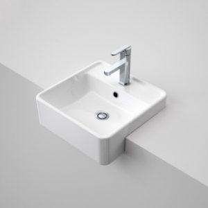 Caroma Carboni Semi Recessed Square Basin White Ceramic 1TH