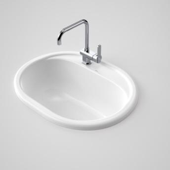 Caroma Metro Utility Basin LH Tap Hole White Ceramic