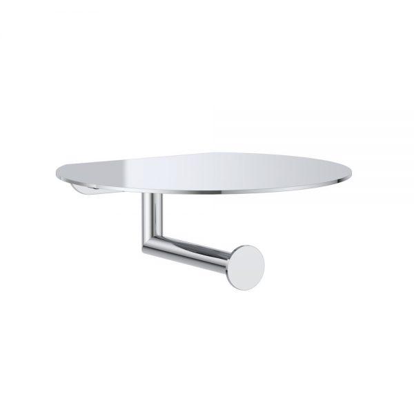 Clark Round Toilet Roll Holder W/ Shelf Chrome