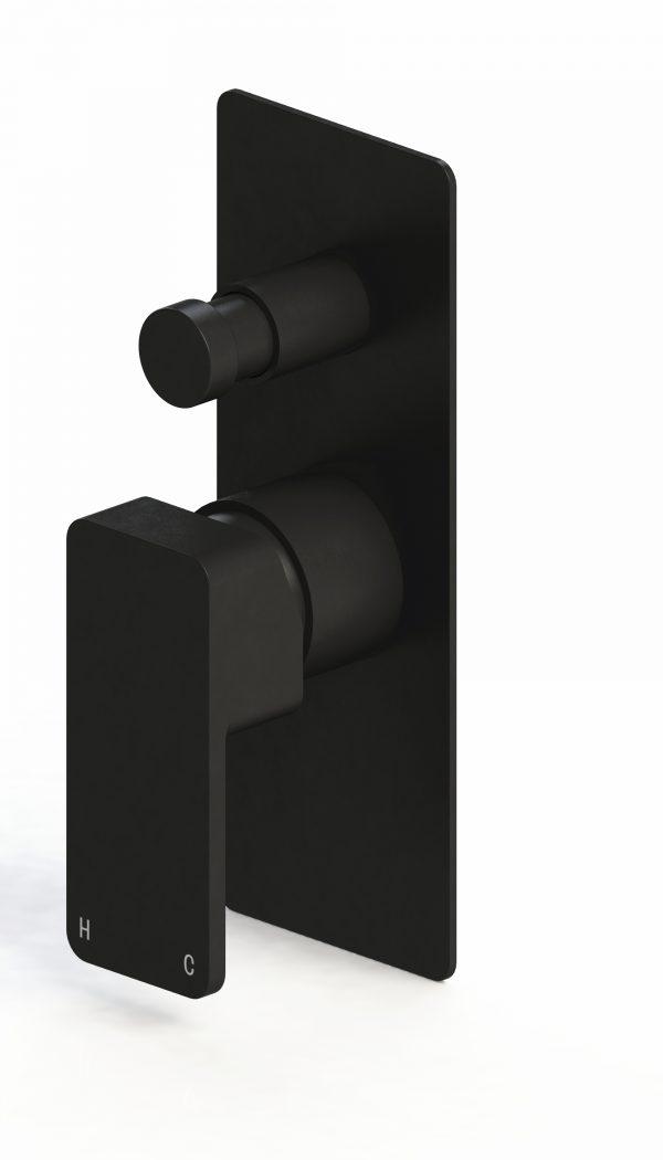 Harmony Rondo Solid Wall Diverter Mixer Black