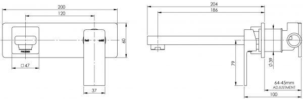 Phoenix Radii Wall Bath Mixer Set 180mm Chrome