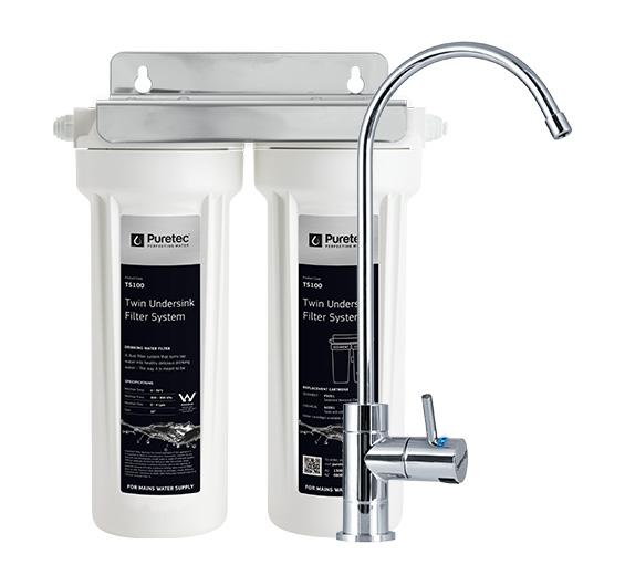 Puretec Dual Filter System High Loop Chrome Faucet 0.5 Micron