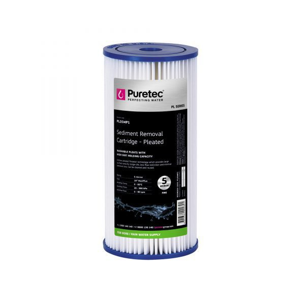 "Puretec Pleated Sediment Cartridge 5 Micron 10"""