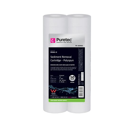 """Puretec Polyspun Sediment Cartridge 50 Micron 10"""" (Pair)"""