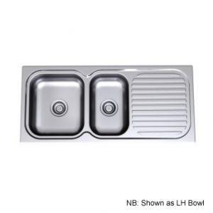 Radiant Sink 1100 Right Hand Bowl 1TH Chrome Shelf