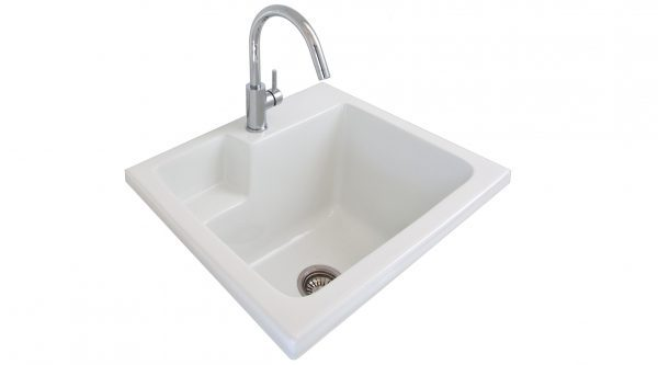 Seima Eva 620 White Ceramic 45L Laundry Sink and Chrome Tap