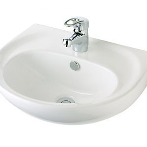 Vincent Wall Basin 480mm 1TH White Ceramic